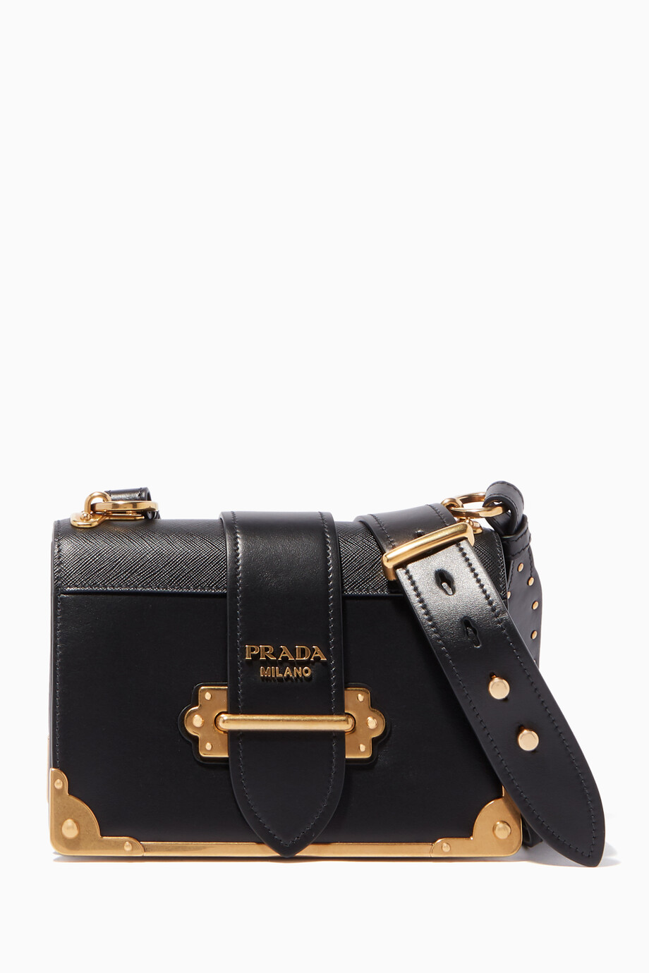 7d78241b4e Shop Prada Black Black City Cahier Leather Cross-Body Bag for Women ...