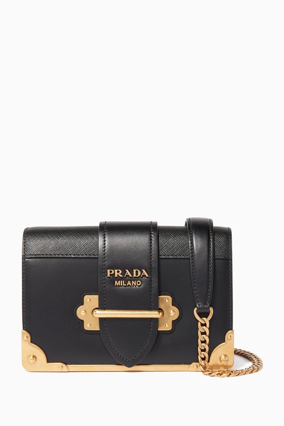 4d855d4dbc87 Shop Prada Black Black Mini Cahier Leather Shoulder Bag for Women ...
