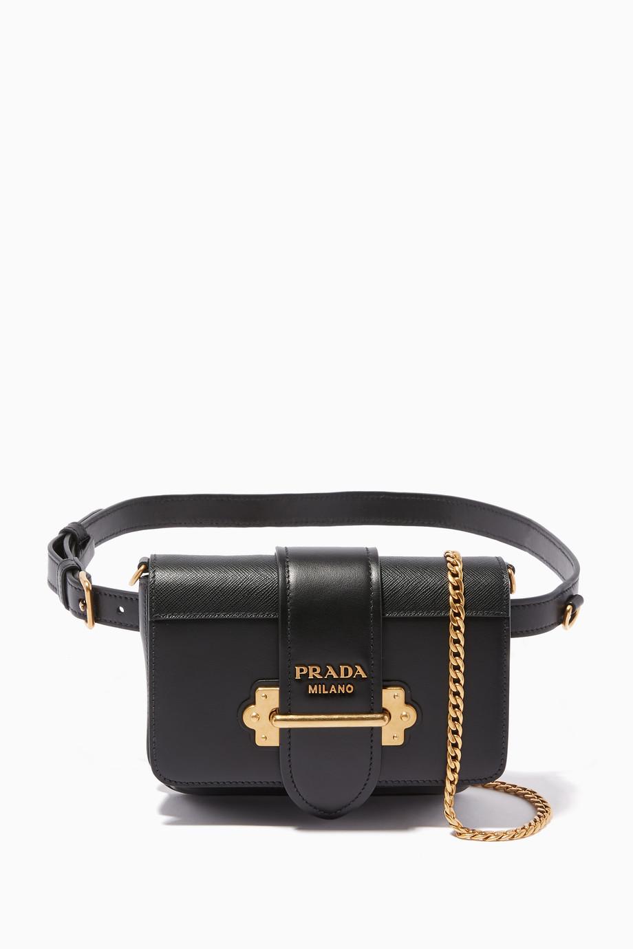 92e771269e5c Shop Prada Black Black Cahier Belt Bag for Women