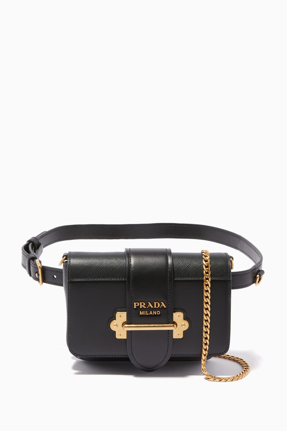 1f9ab0599aa3 Shop Prada Black Black Cahier Belt Bag for Women | Ounass