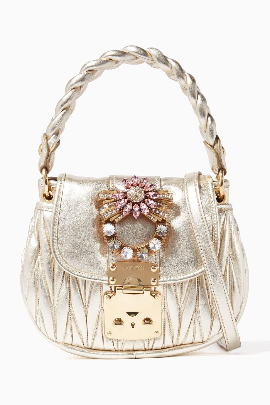 c44bc13828eb Shop Miu Miu Gold Gold Crystal-Embellished Matelassé Leather ...