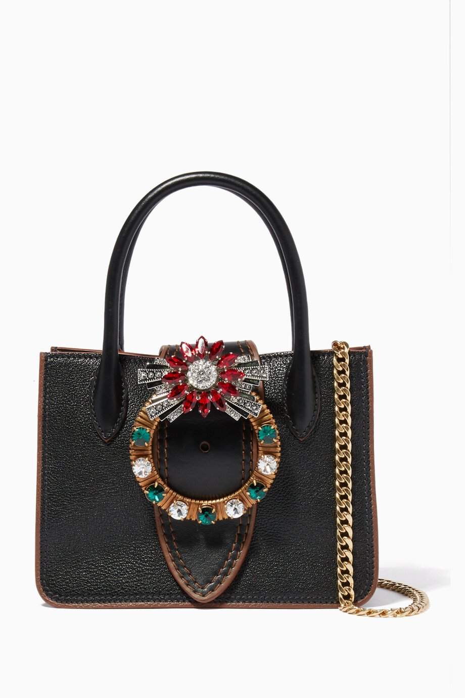 945a6f043b Shop Miu Miu Black Black Nano Lady Madras Embellished Top Handle Bag ...