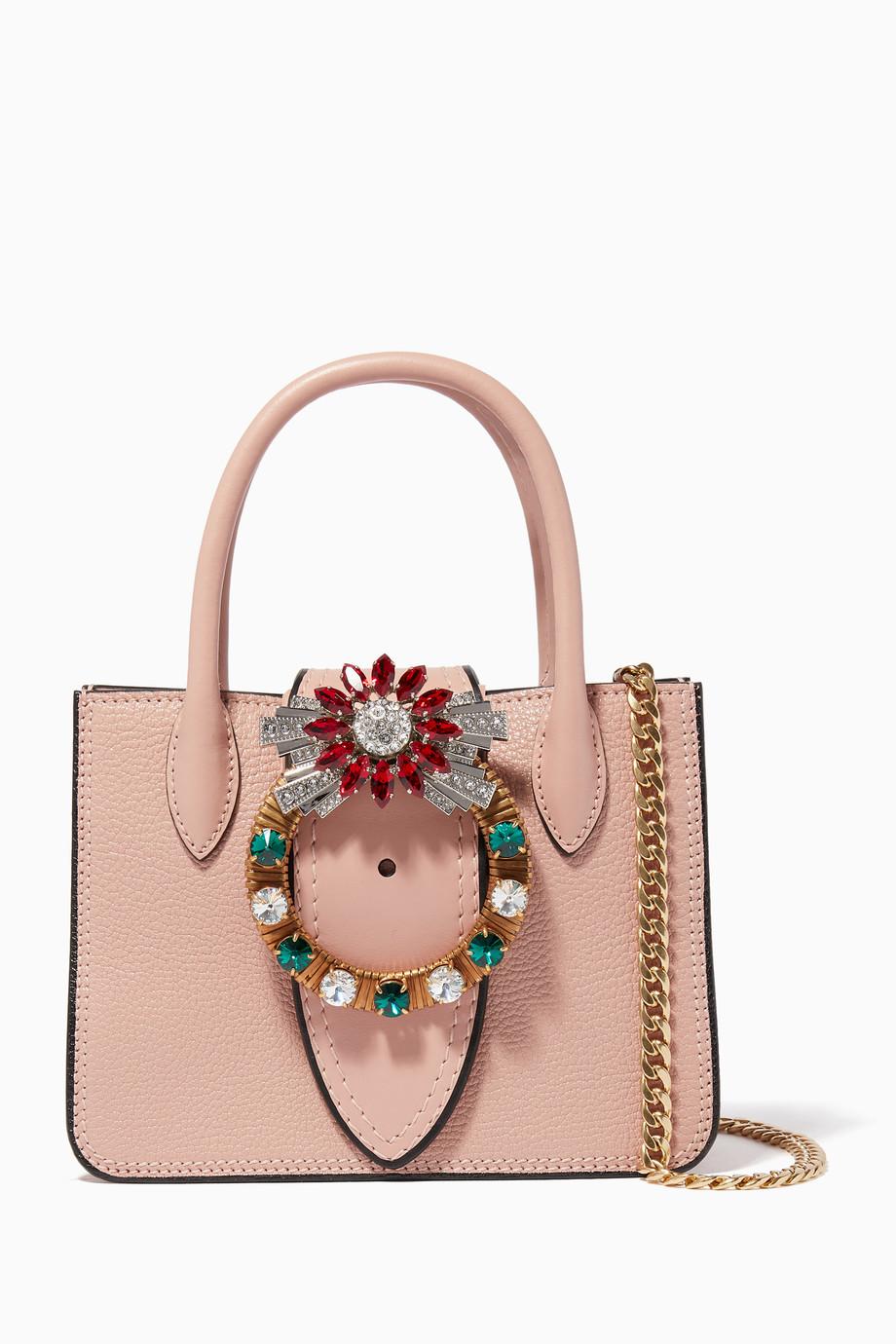 Shop Miu Miu Pink Pink Nano Lady Madras Embellished Top Handle Bag ... b4183dc5e3c88