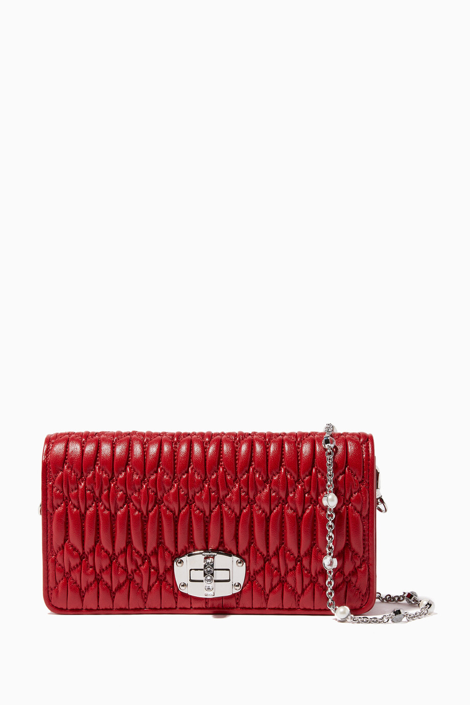 529bf0dd5cb6 Shop Miu Miu Red Red Crystal Chain Wallet for Women