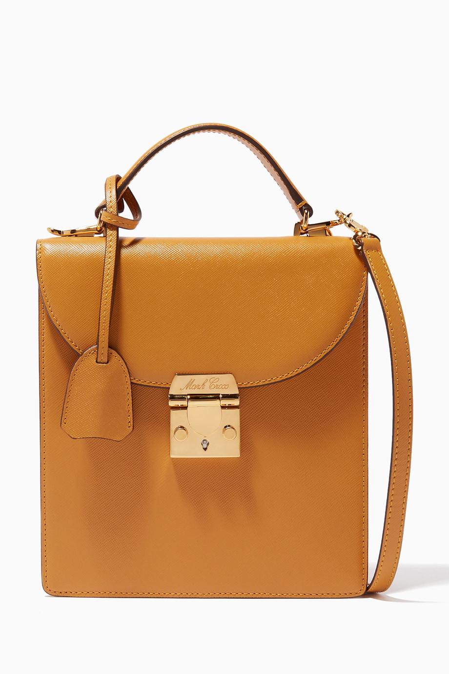 c83d0f77b0c425 Shop Mark Cross Yellow Mustard-Yellow Uptown Top-Handle Bag for ...