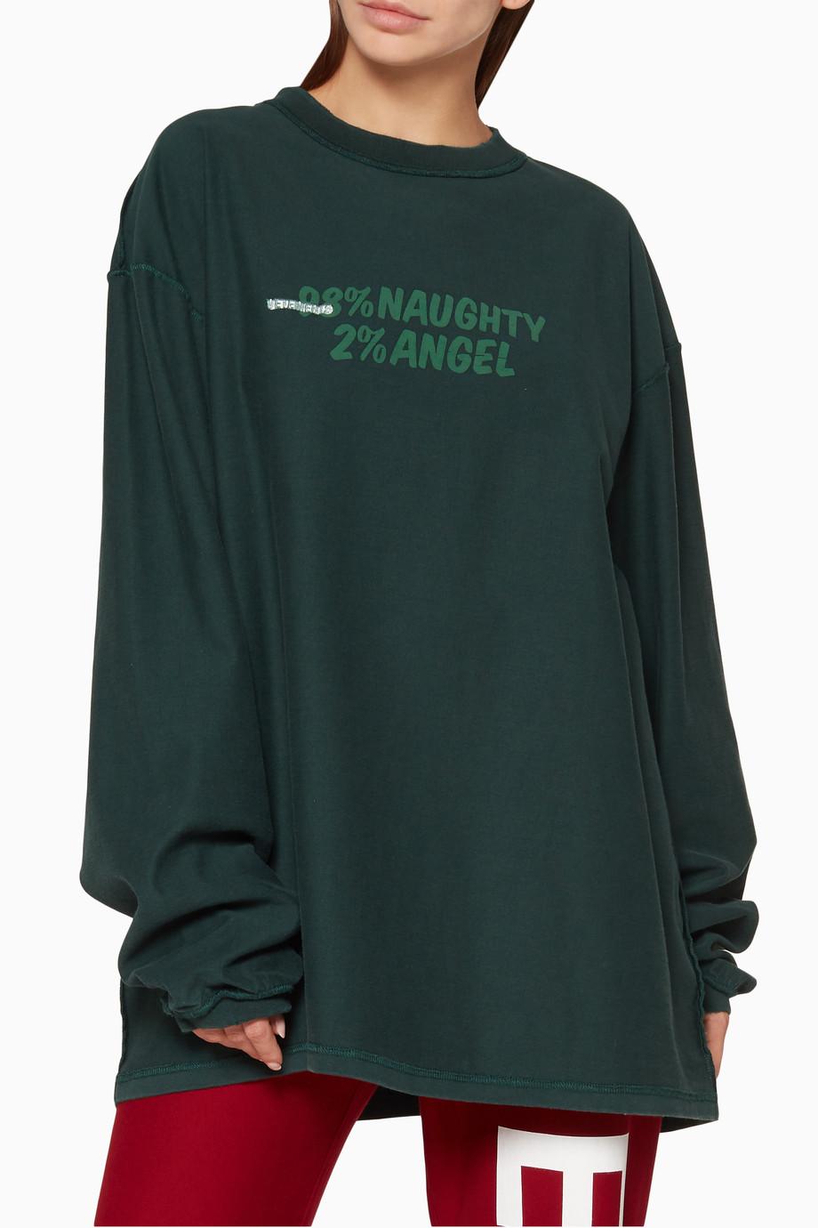 e6642d81 Shop Vetements Green Dark-Green Long-Sleeve Graphic T-Shirt for ...