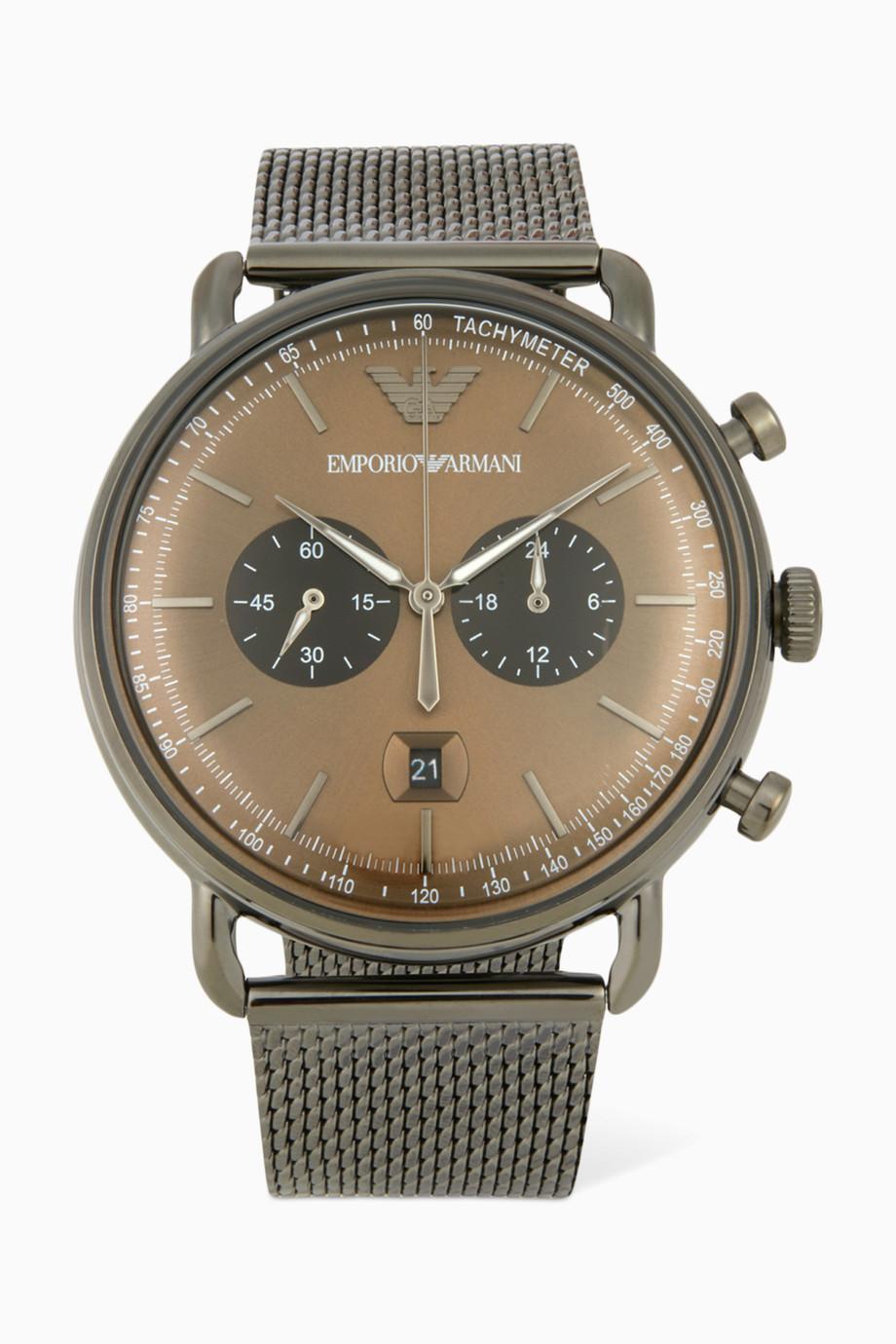 a056c104f تسوق ساعة كرونوغراف أفييتور ستانلس ستيل Emporio Armani ملون للرجال ...