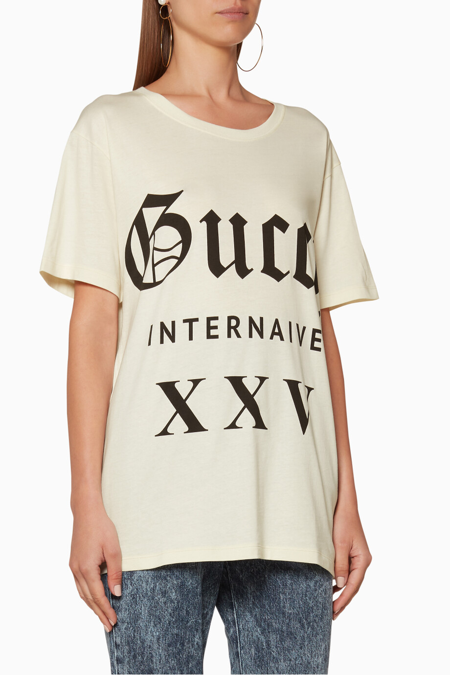 8254a2d9e Shop Gucci Multicolour Off-White Guccy XXV Oversize T-Shirt for ...