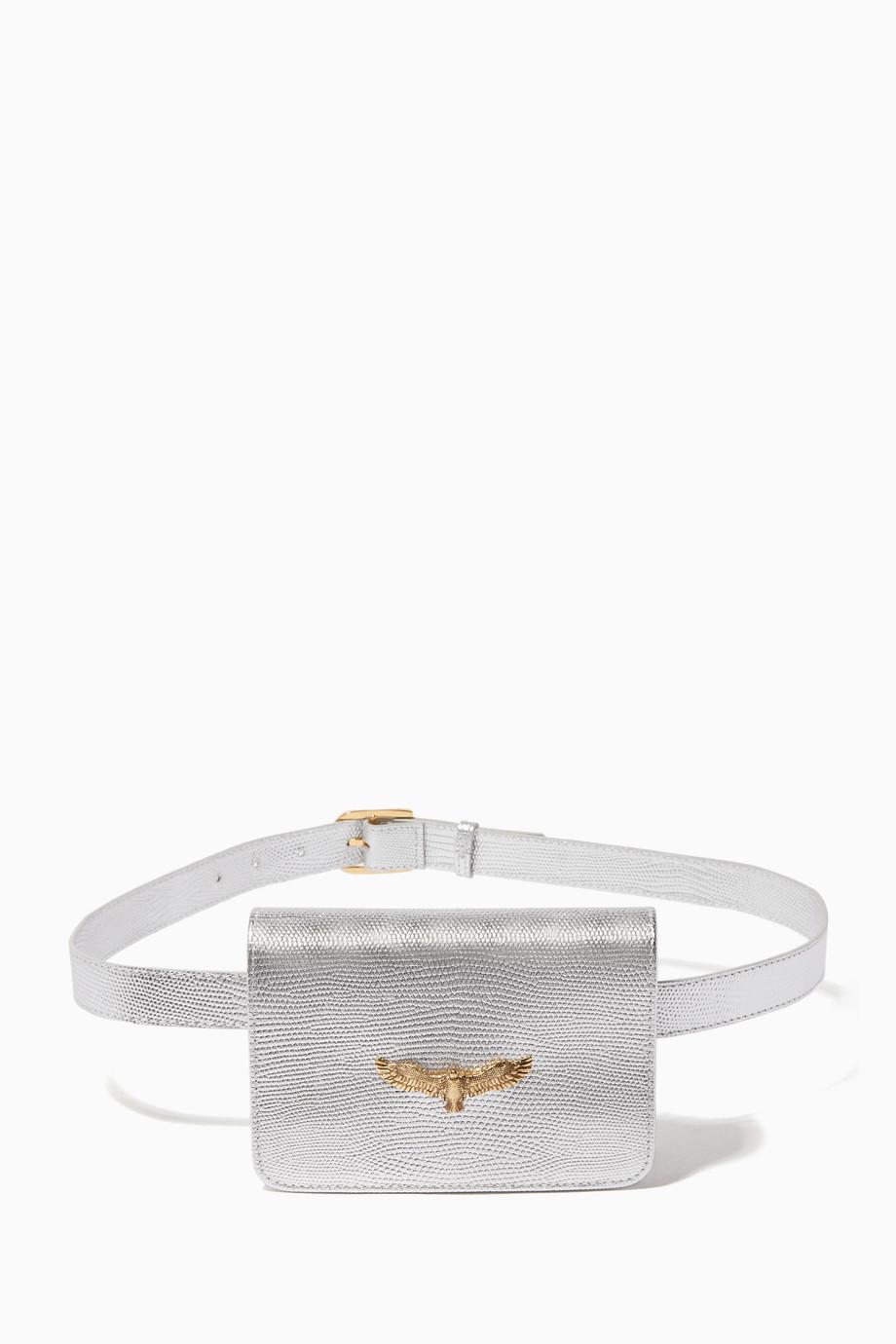 15a906bf2d Shop Moni   J Silver Silver Joelle Lizard-Effect Belt Bag for Women ...