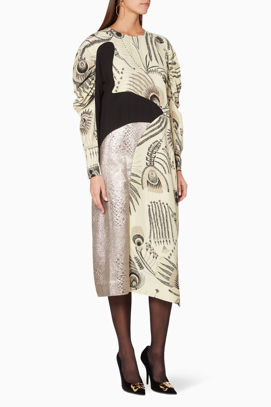 f74c956c3 Shop Dries Van Noten Neutral Off-white Peacock-Feather Dullea Dress ...