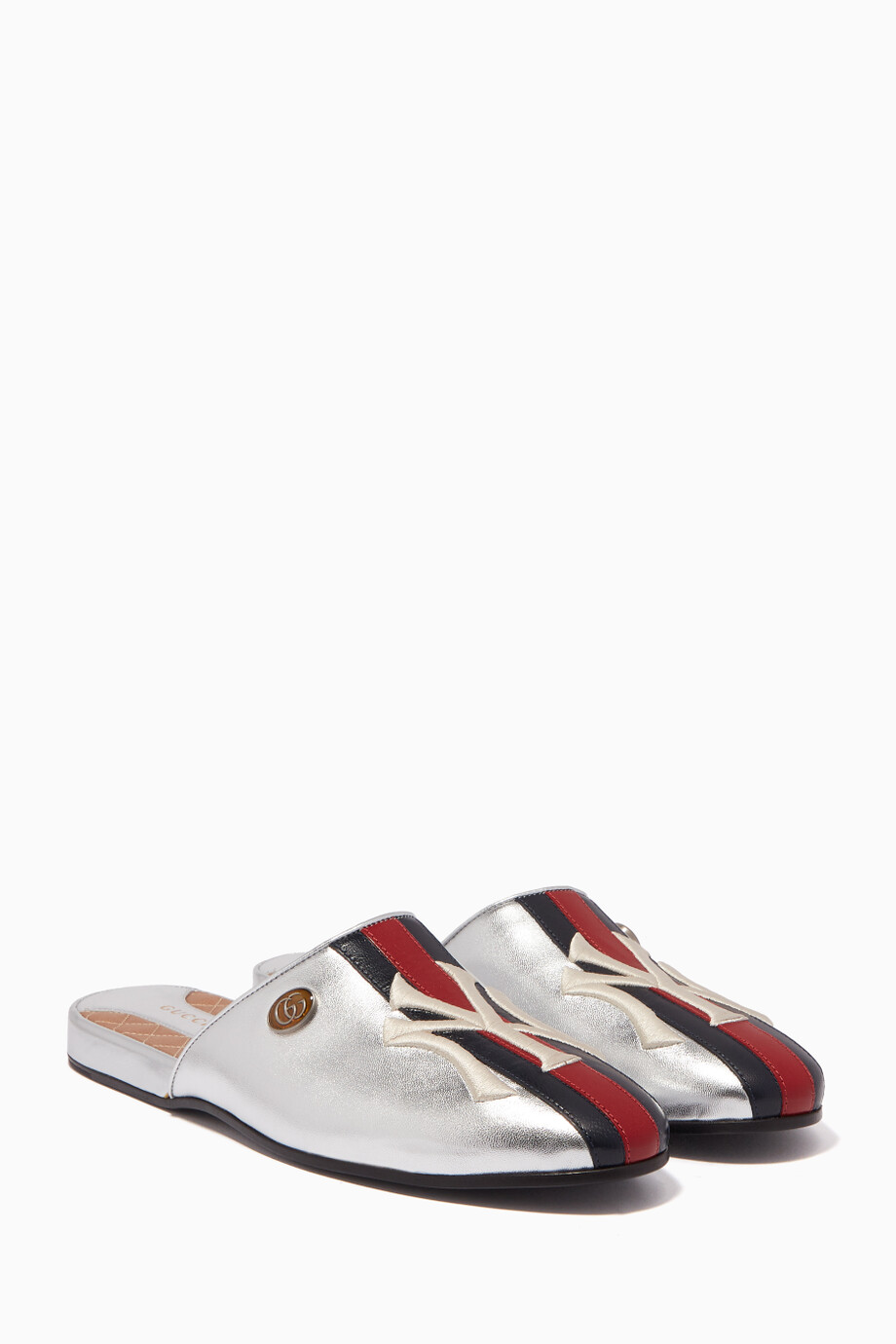 83168b48543 Shop Gucci Silver Metallic-Silver NY Yankees™ Patch Slippers for ...