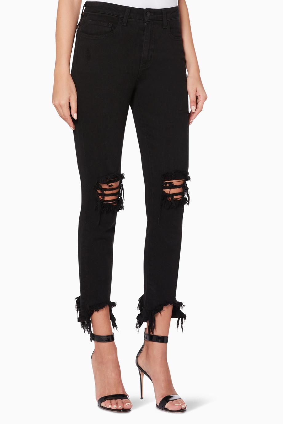 بنطال جينز هاي لاين أسود