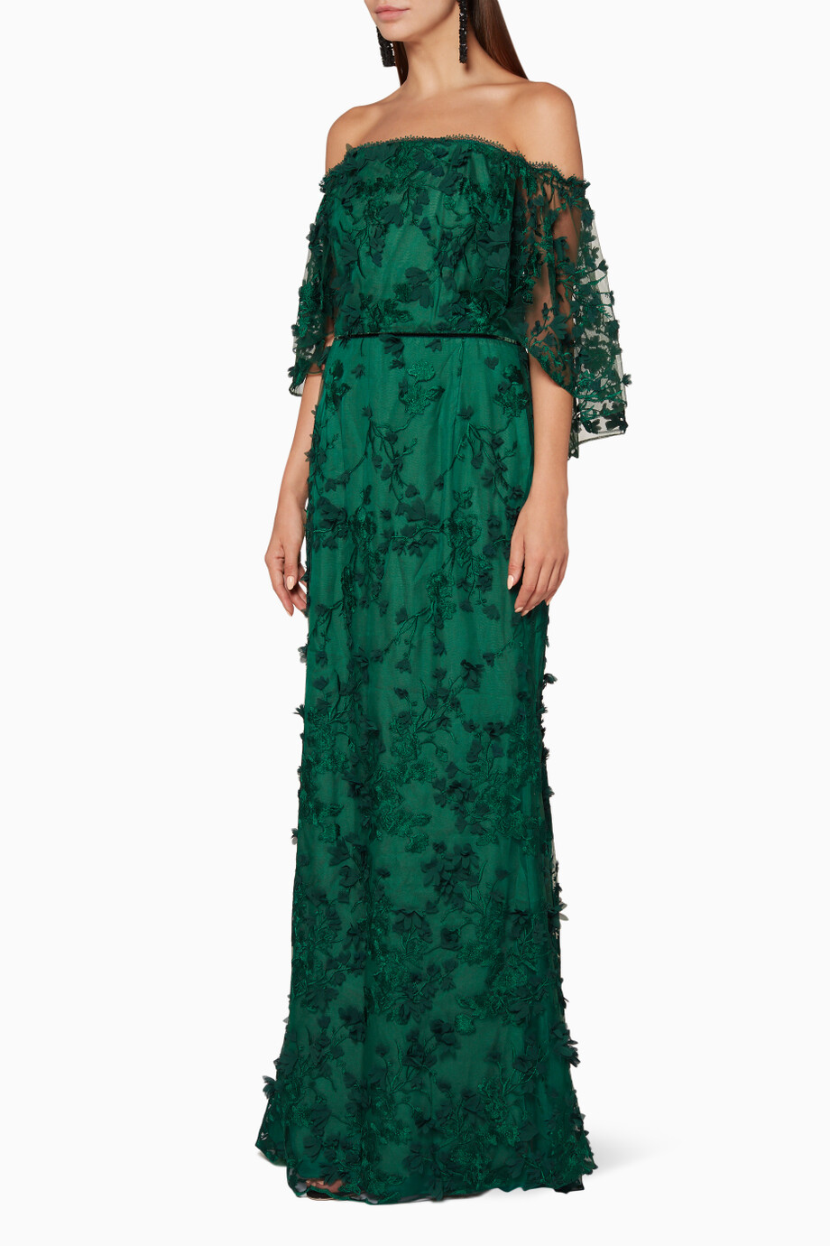 64eaa39e Shop Marchesa Notte Green Emerald-Green Embroidered Off-The ...