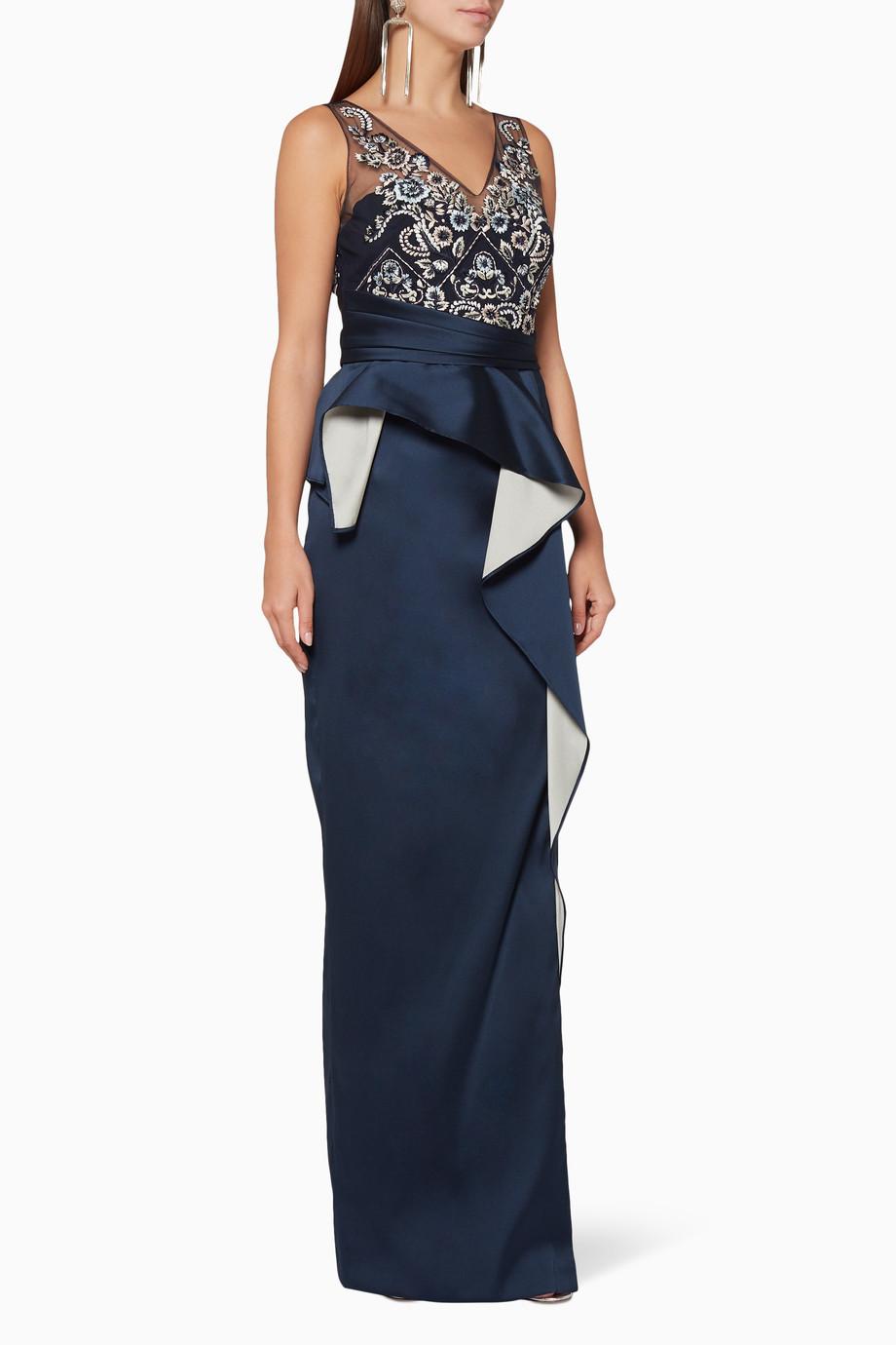 e49c6e6f Shop Marchesa Notte Blue Navy Two-Tone Peplum Column Gown for ...