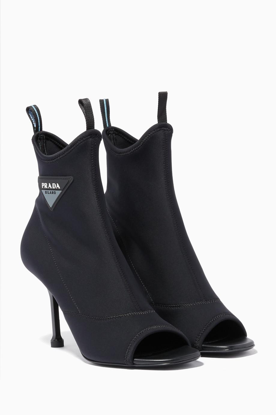 Shop Prada Black Black Neoprene Logo Sock Boots for Women   Ounass UAE 5919575dfe1