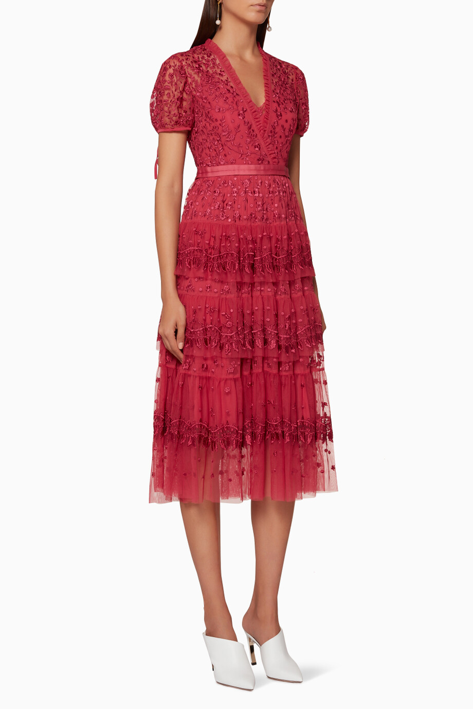 Shop Needle Thread Burgundy Heather Red Layered Lace Dress