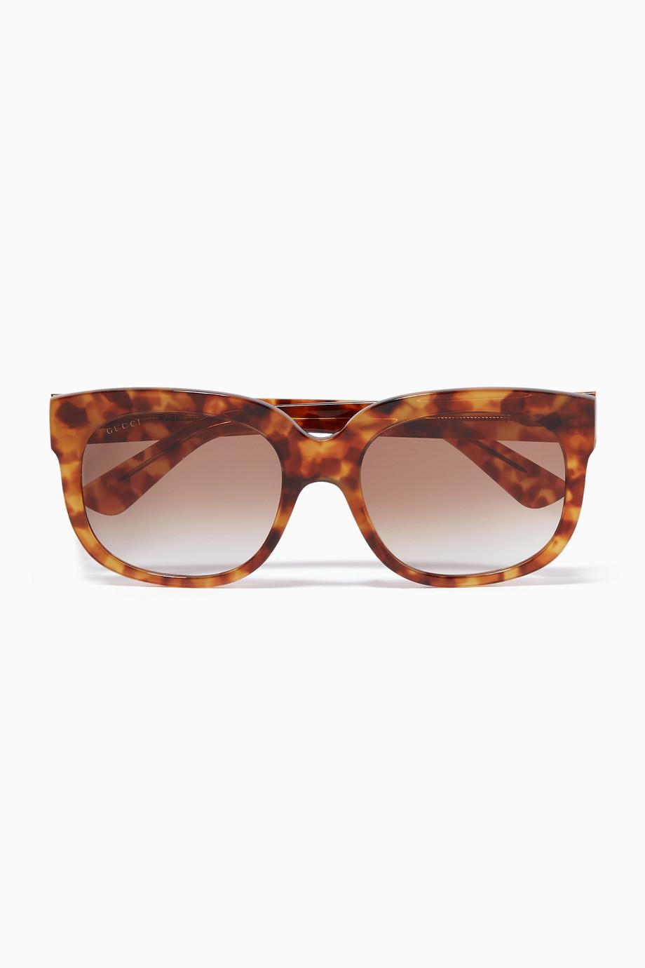 60148a47d6f5c تسوق نظارة شمسية بإطار مربع بني Gucci بنى للنساء