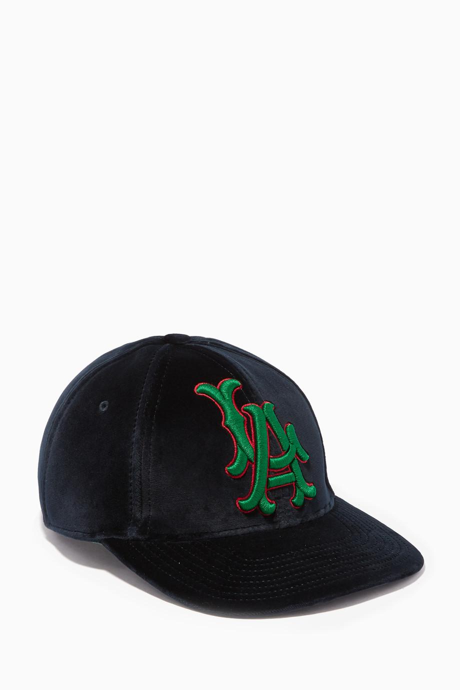 f7411699 Shop Gucci Blue Navy LA Angels™ Patch Baseball Hat for Women ...