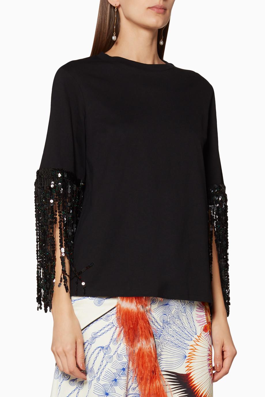 aa027050c9ee4 Shop Romance Was Born Black Black Star-Sequin T-Shirt for Women ...