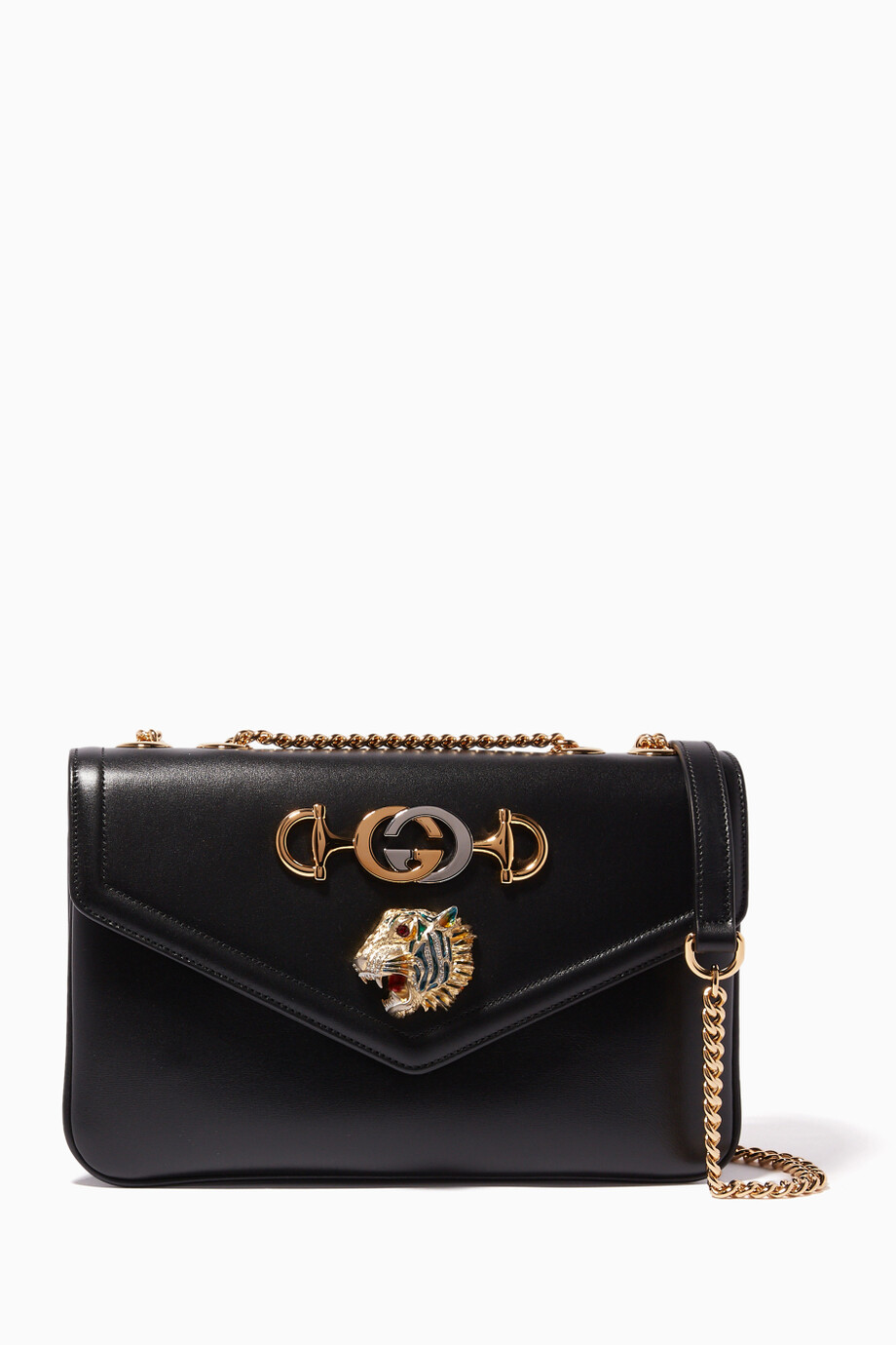 9a47fdc49 Shop Gucci Black Black Medium Rajah Shoulder Bag for Women | Ounass ...
