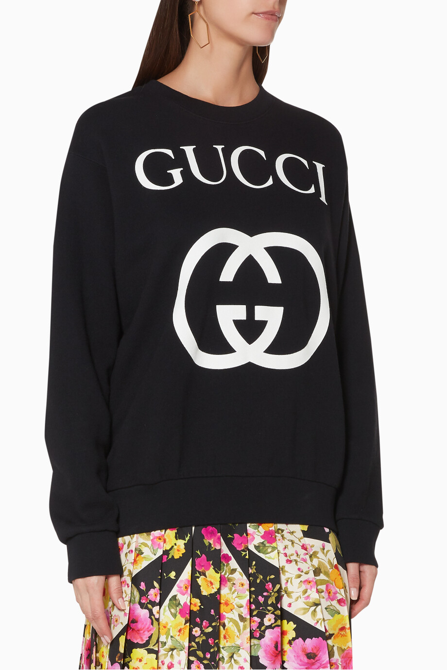 9f62f40a2da Shop Gucci White Black Interlocking G Sweatshirt for Women
