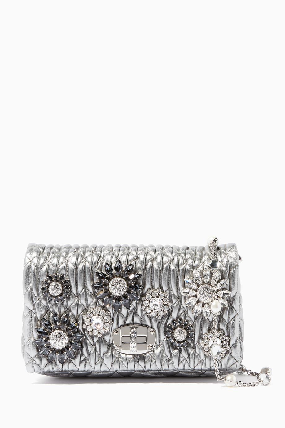 Shop Miu Miu Silver Silver Crystal-Embellished Shoulder Bag for ... dfc17b794e853