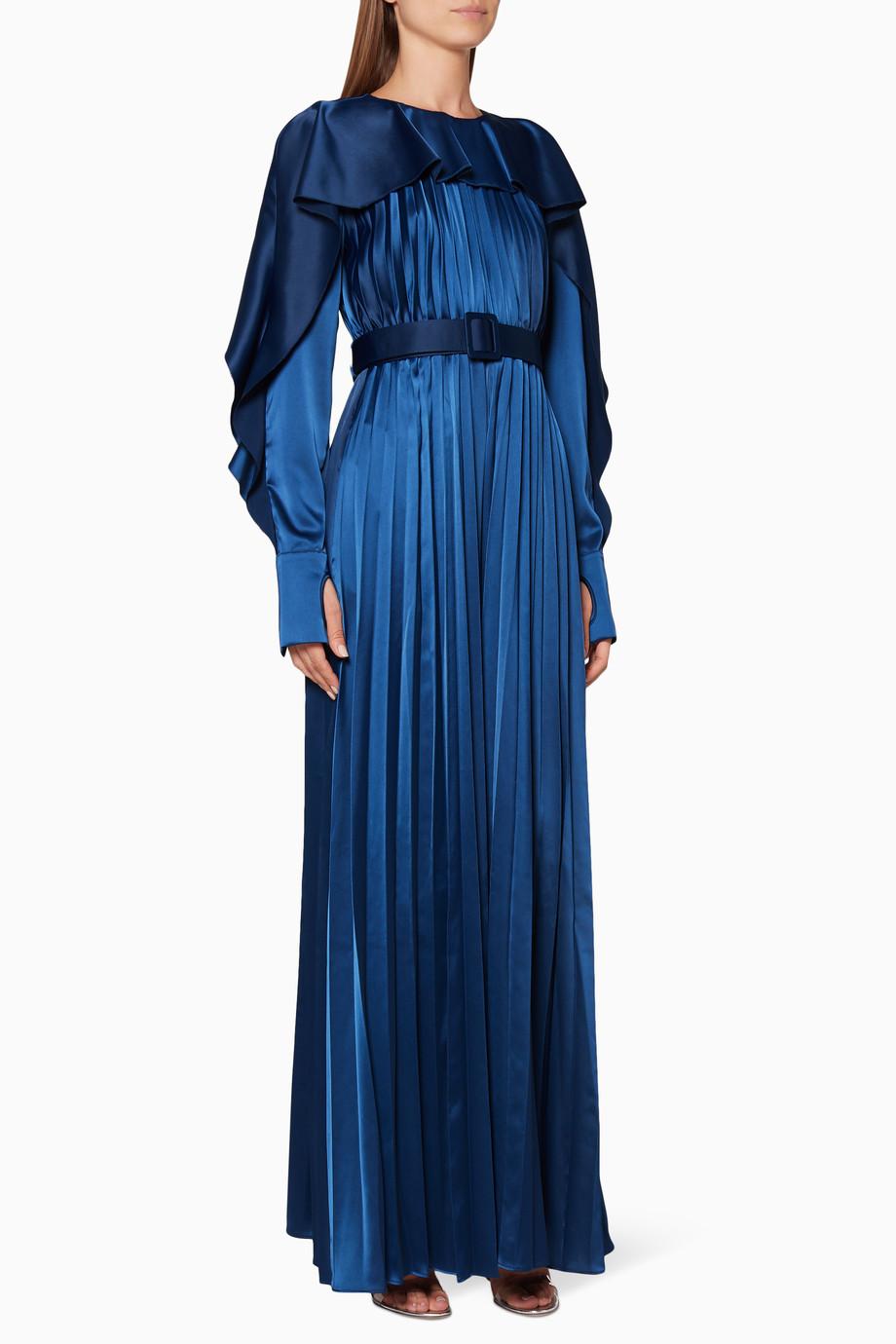 6395deb91c Shop Self-Portrait Blue Navy Pleated Frill Jumpsuit for Women