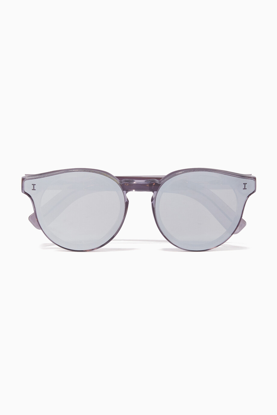 99df7312ac3b Shop Illesteva Silver Silver Two Point One Round-Frame Sunglasses ...