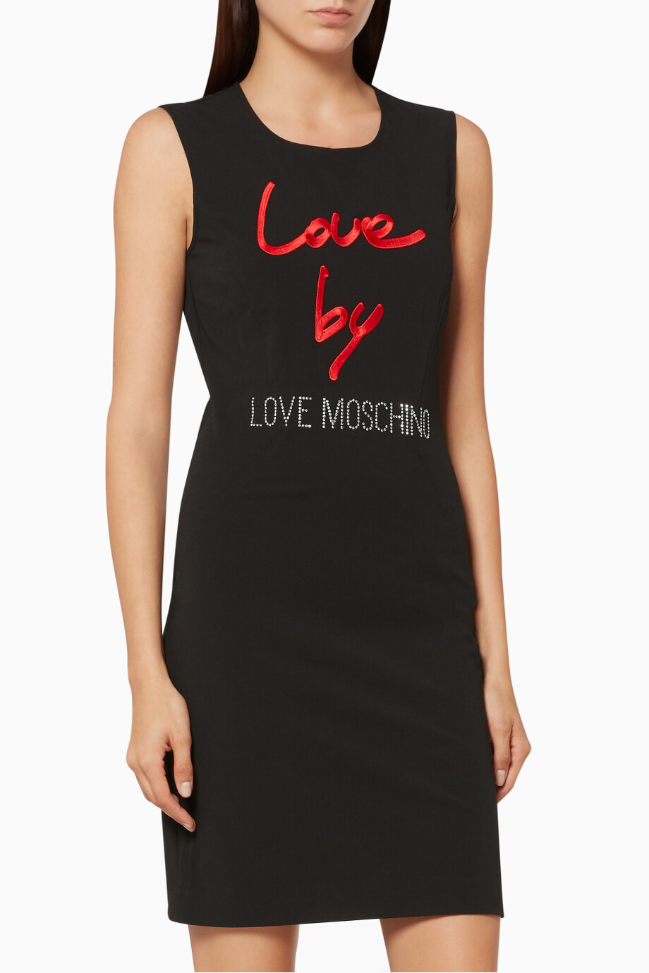 Black slogan appliqué dress