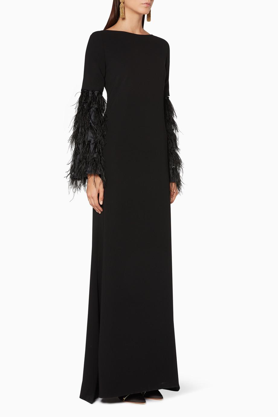 23cc00565 تسوق فستان سهرة نور بأكمام متعددة أسود Leal Daccarett أسود للنساء ...