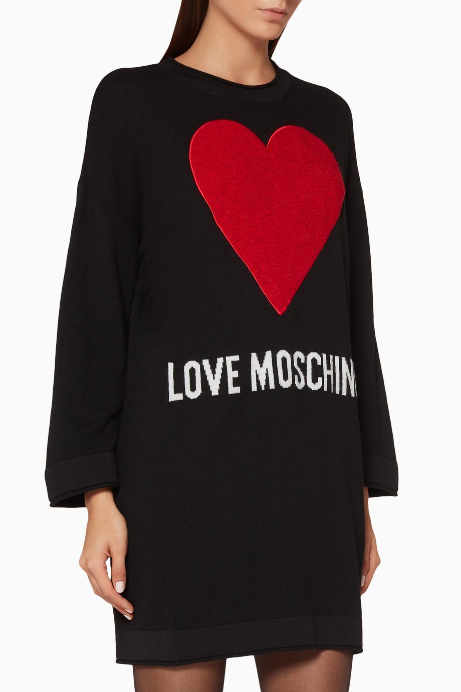 6d1fdc0fd Shop Moschino Black Black Heart-Appliqué Sweater Dress for Women ...