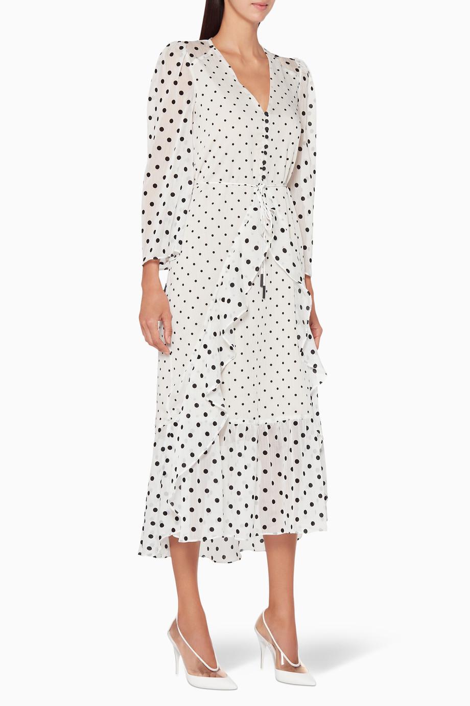 b09ef69517ed0 Shop Elliatt White White Polka-Dot Abigail Midi Dress for Women ...