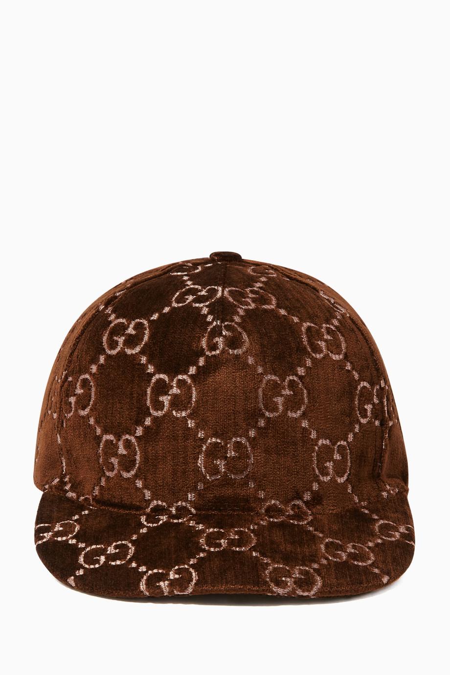 21f8eea68d242c Shop Gucci Neutral Dark-Beige GG Velvet Baseball Cap for Women | Ounass