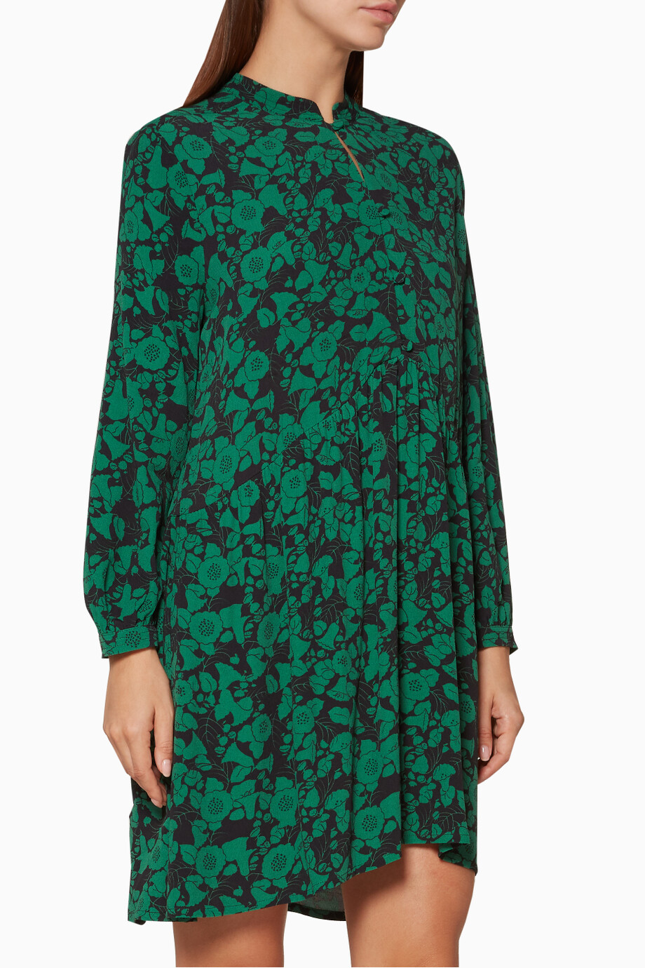 Shop Whistles Green Green Deco Floral Print Shirt Dress For Women