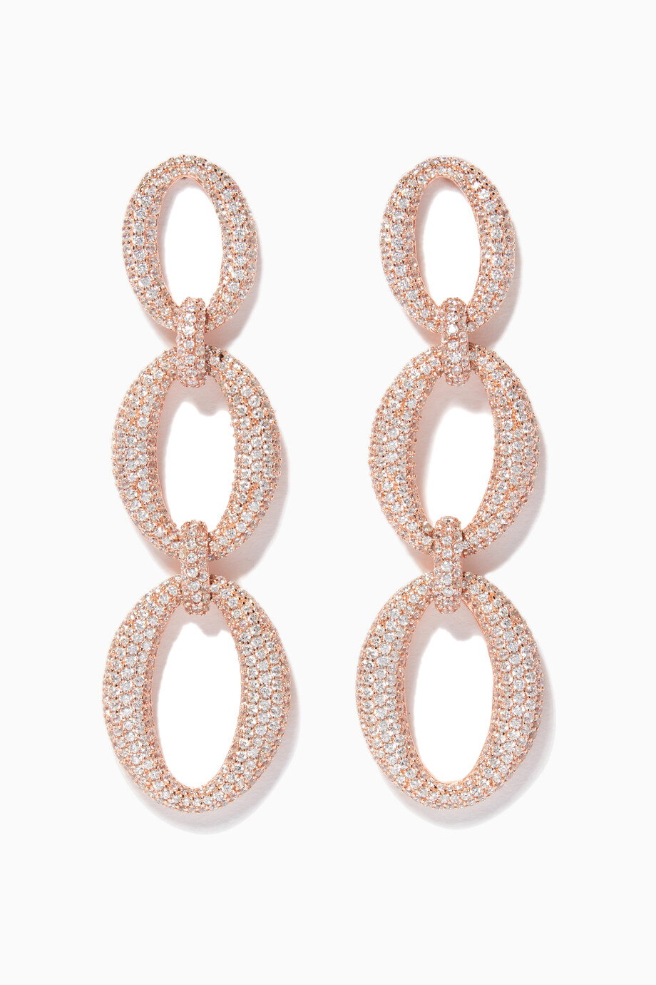 9828bbedd84 Shop KHAILO SILVER Neutral Rose Gold Embellished Drop Earrings for Women
