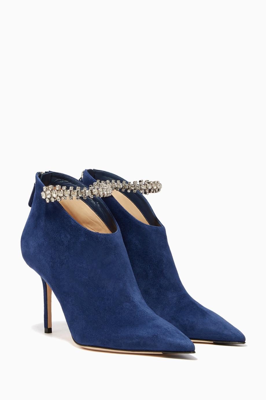 b348da06ba408 Shop Jimmy Choo Blue Pop-Blue Suede Blaize Booties for Women | Ounass