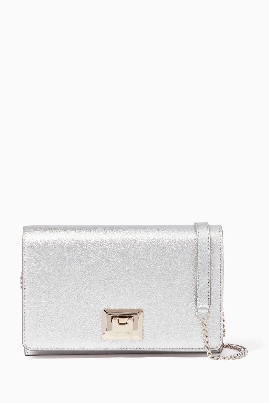 5863c9c7930ba تسوق حقيبة دافين جلد صغيرة فضية Jimmy Choo فضي للنساء