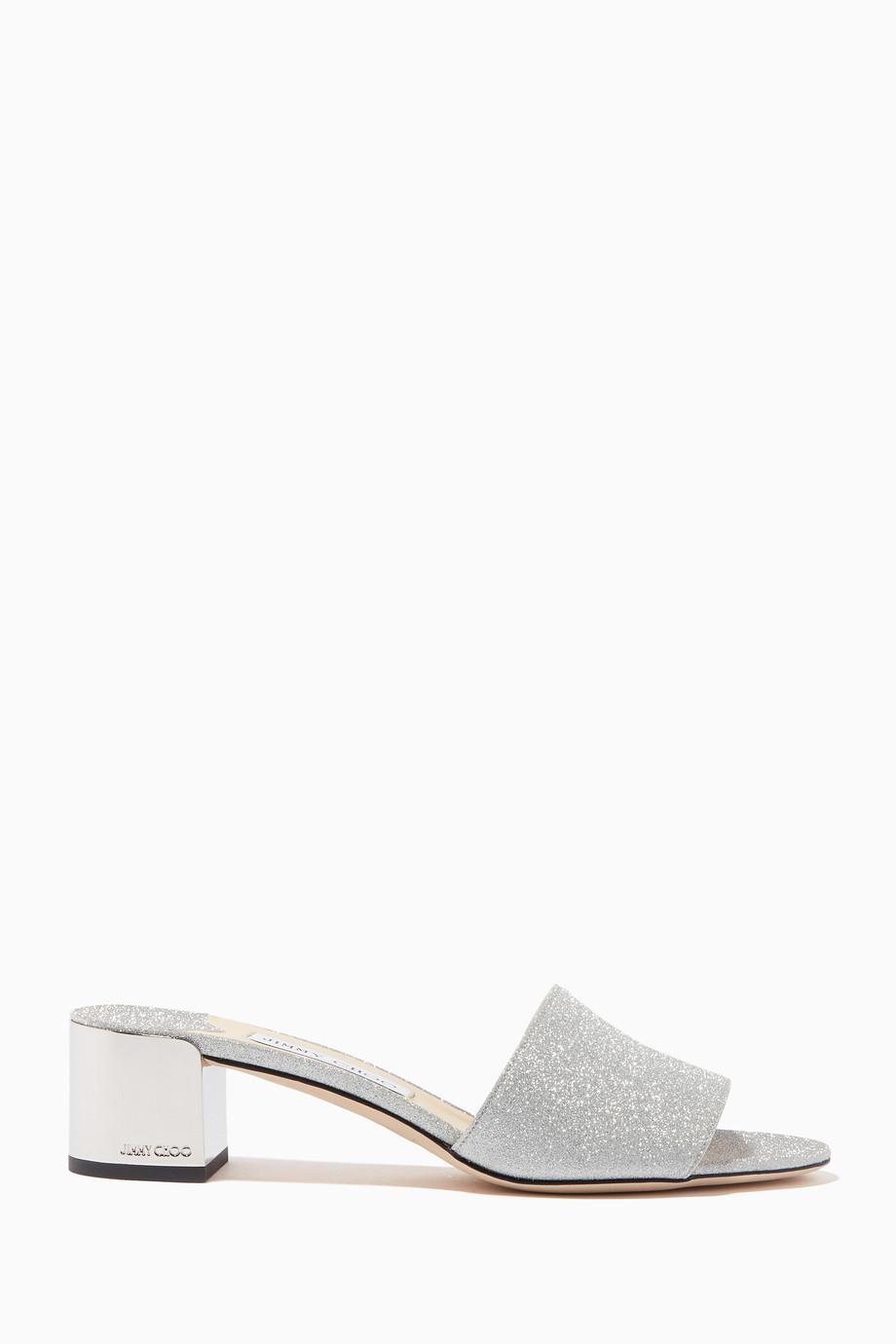 eafffaf0a2c Shop Jimmy Choo Silver Silver Joni Block-Heel Sandals for Women ...