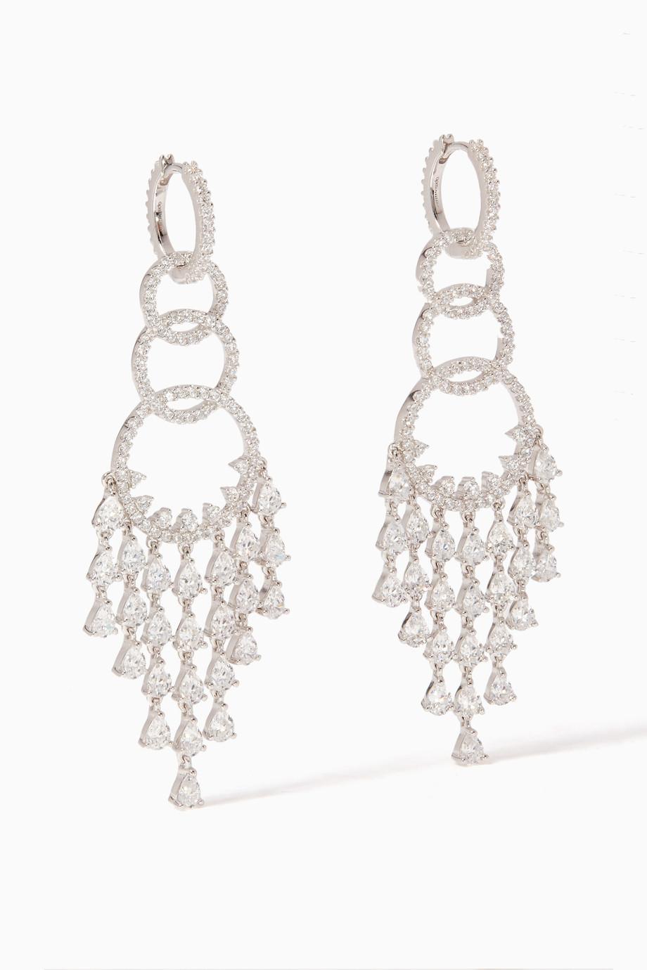 4f5507f28 Shop APM Monaco Silver Silver Soiree Chandelier Earrings for Women ...