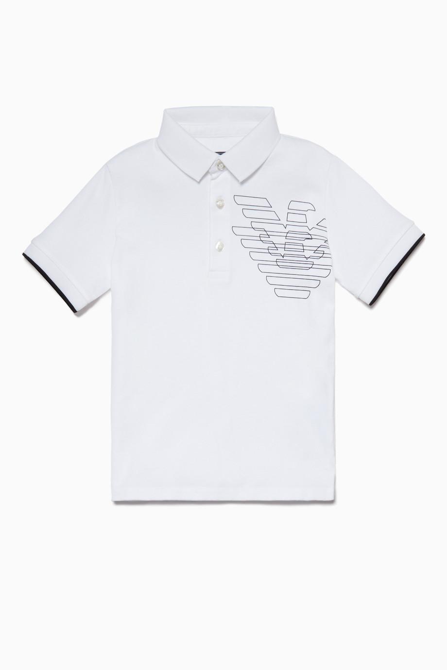 646c9138b69dd تسوق تي شيرت بولو بطبعة شعار الماركة أبيض Emporio Armani ابيض ...