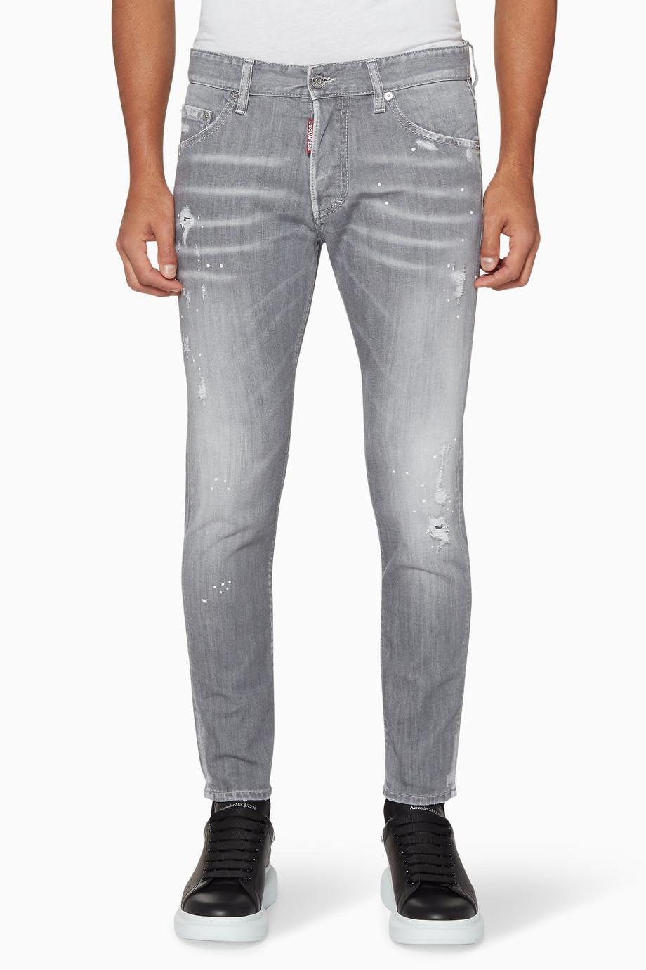 312e8a2e68 Shop Dsquared2 Grey Light-Grey Distressed Skinny Jeans for Men