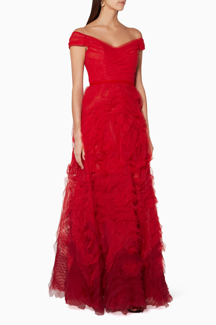 16f69df5 Shop Marchesa Notte Red Red Off-The-Shoulder Ombré Gown for Women ...