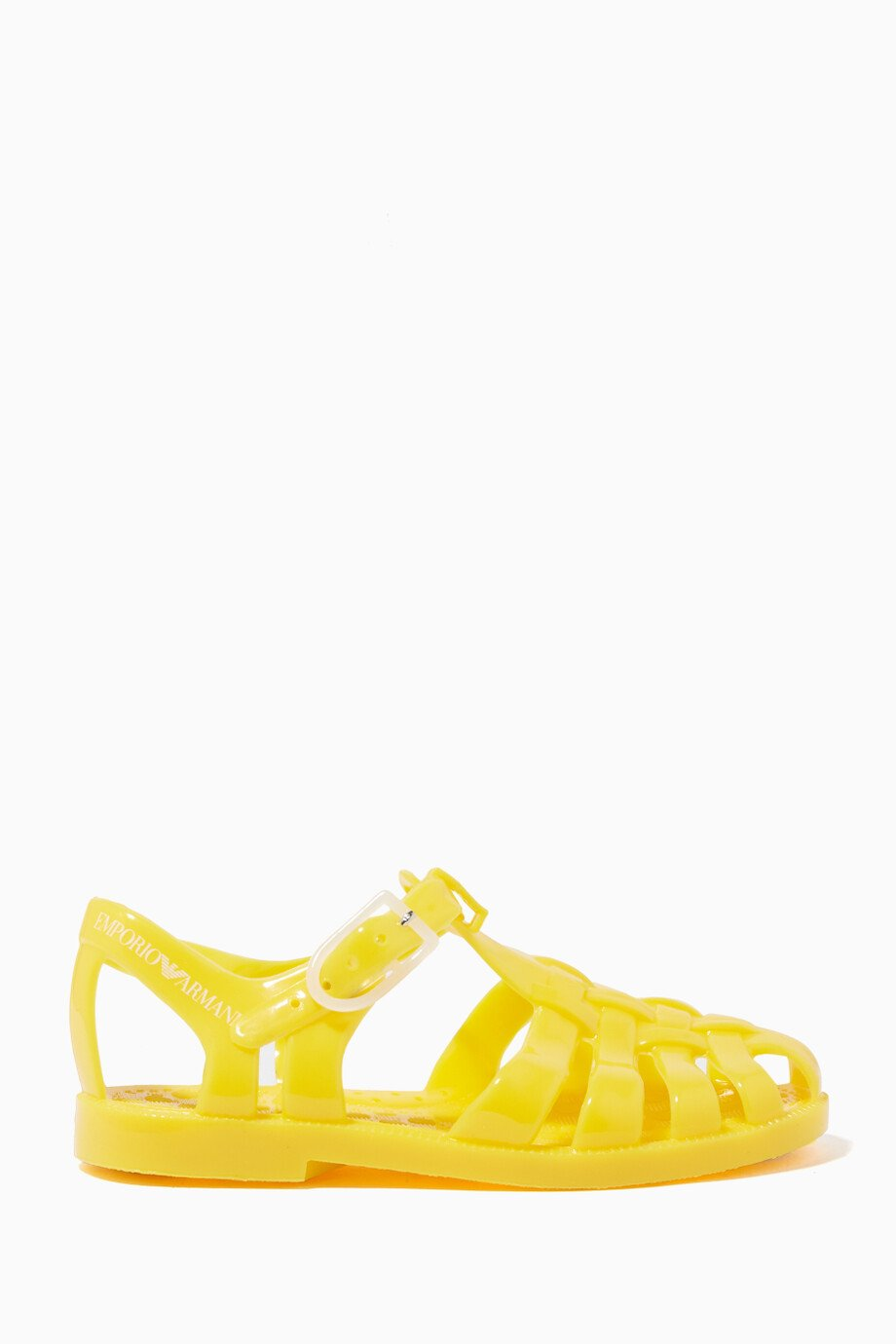 7de4f0b78ce Shop Emporio Armani Yellow Yellow Jelly Sandals for Kids