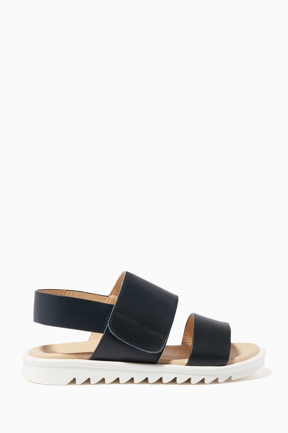 413d9806a149 Shop Emporio Armani Blue Black Leather Strap Sandals for Kids ...