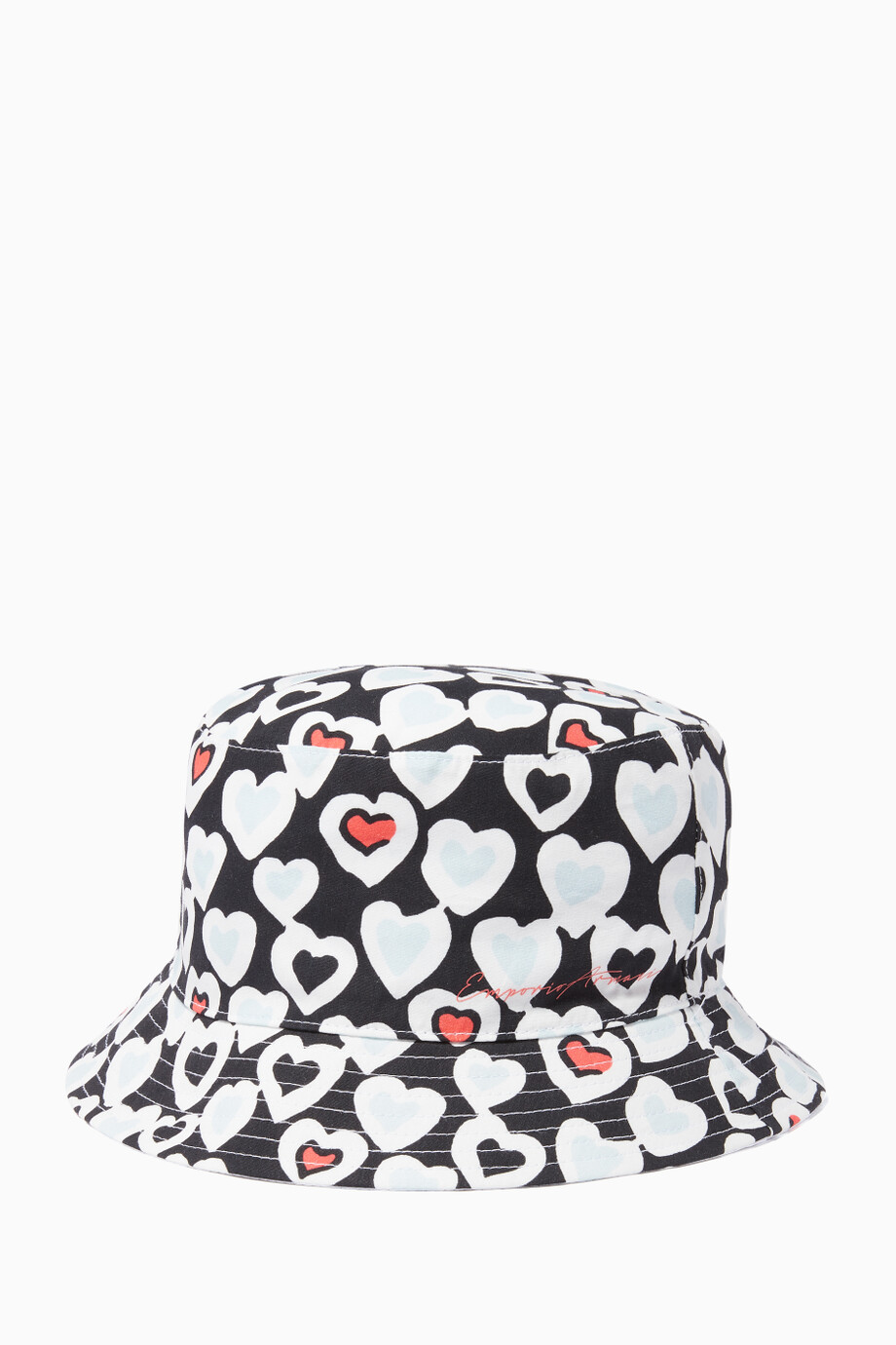 1ed7aa4c Shop Emporio Armani Black All-Over Hearts Fedora Hat for Kids ...