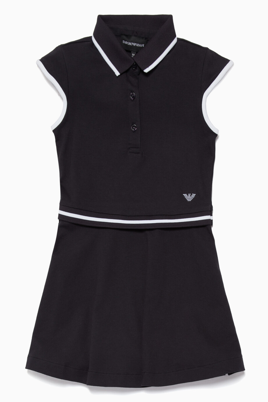 307350228702 Shop Emporio Armani Blue Black Contrast Stripe Polo Dress for Kids ...