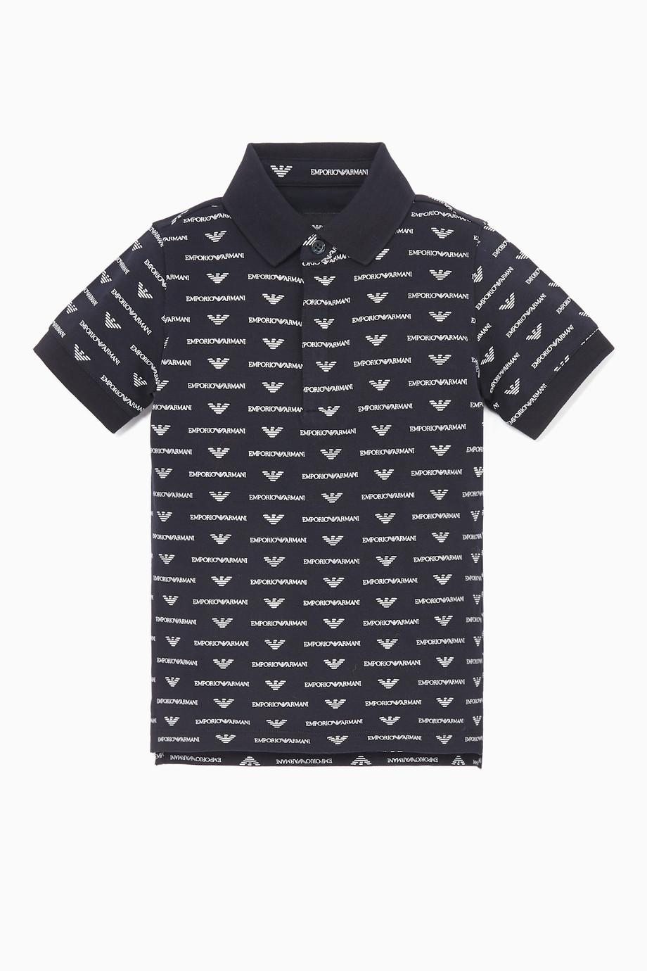 bbbb4376 Shop Emporio Armani Blue Navy Logo Print Polo Shirt for Kids | Ounass