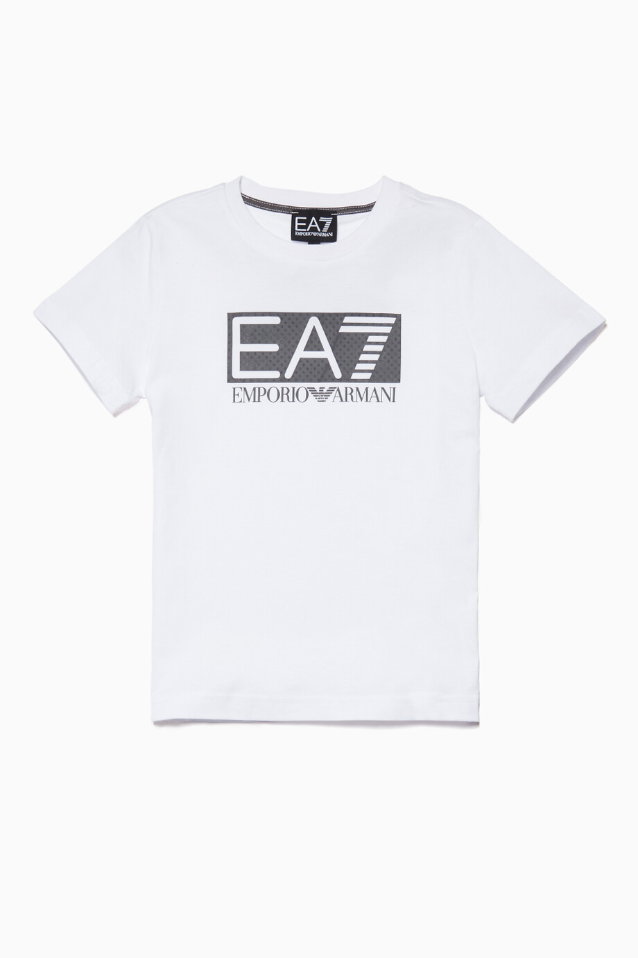 4fb31536 Shop Emporio Armani White White EA7 Rubber Logo T-Shirt for Kids ...