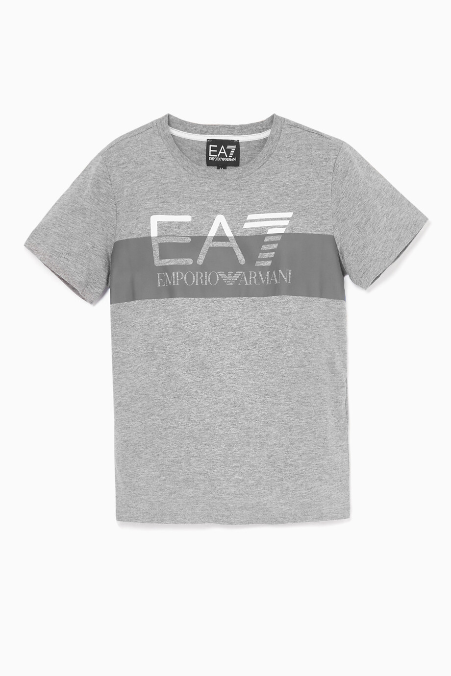 526ad24d39bb5a Shop Emporio Armani Grey Grey & Blue EA7 Logo Cotton T-Shirt for ...