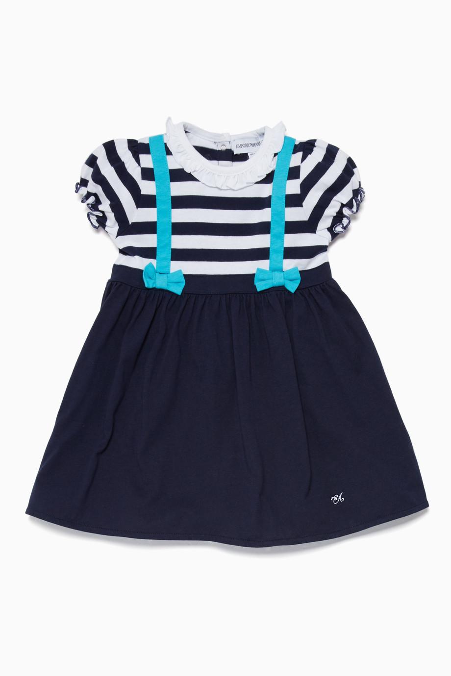 9d5e04c6de9a3b Shop Emporio Armani Blue Navy   White Cotton Dress for Kids